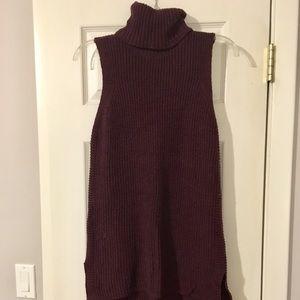 NWOT Merona Plum Sleeveless Turtleneck Sweater